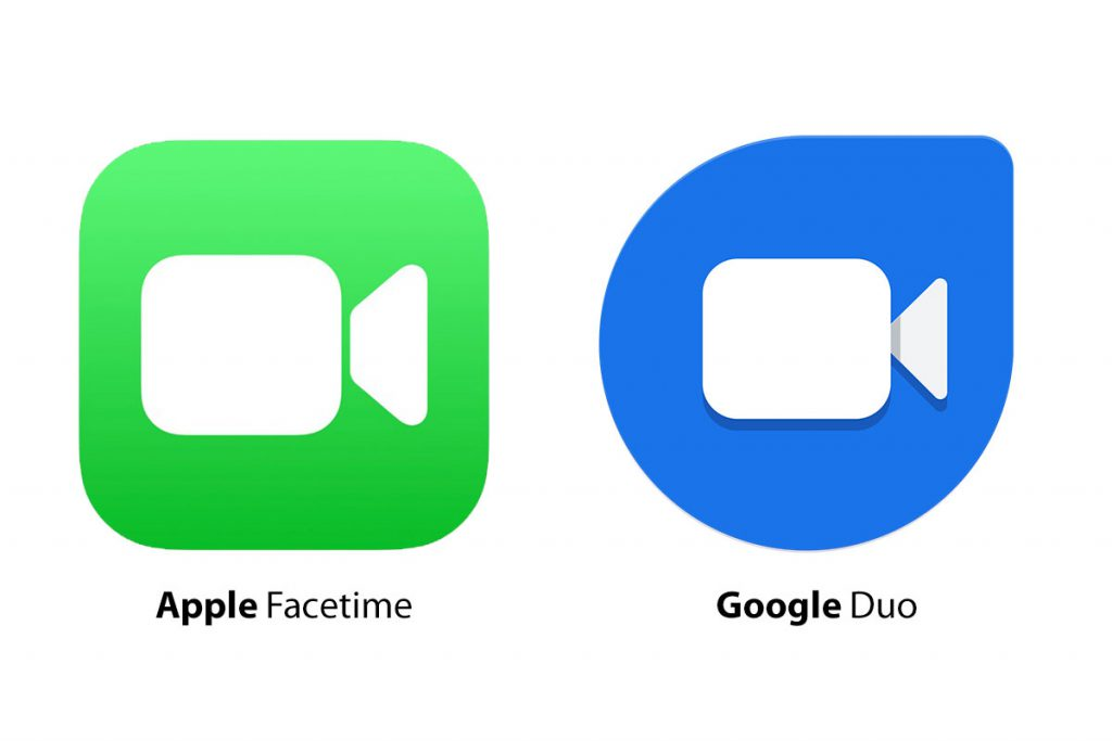 Apple FaceTime and Google Duo logos
